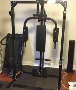 Half rack with lat pull down low pulley row pec deck