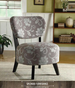 BRAND NEW!! GRAY FLORAL PATTERN & DARK STARBURST ACCENT CHAIR