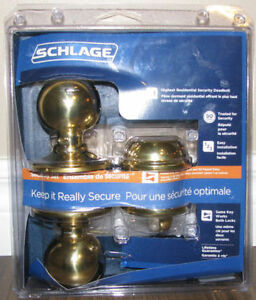 NEW schlage door lock knob deadbolt set