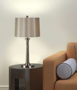 Table Lamps (Set of 2), Satin Nickel Finish