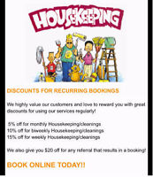 HOUSE CLEANERS AND HOUSEKEEPING