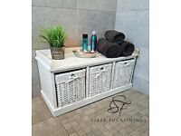 White Wooden Storage Bench with 3 baskets and seat.