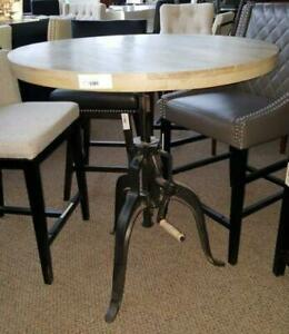 Vintage Industrial Crank Table with Round Wood Top