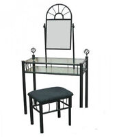 Black and glass vanity with stool.
