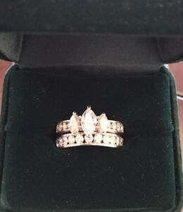 2ctw Three Stone Marquise Engagement Ring and Band