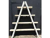 Vintage wooden ladder and scaffold plank shelf unit