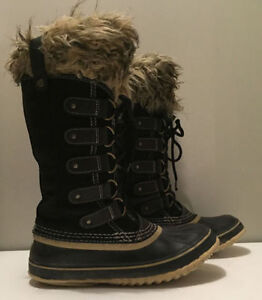 Women's Sorel Joan of Arctic Snow Black Winter Boots 7