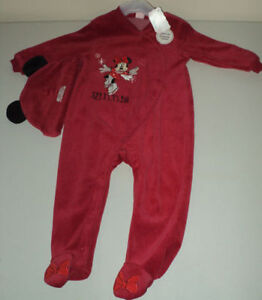 NEW Red Velour Minnie Mouse Sleeper With Matching Hat