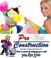 Nettoyage après/pendant Réno/Construc. & entretien ménager