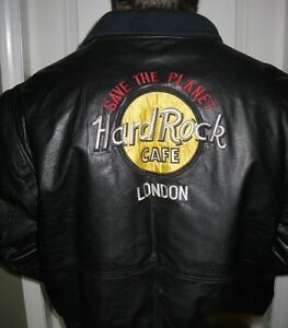 "HARD ROCK CAFE ""SAVE THE PLANET"" BLACK LEATHER JACKET"