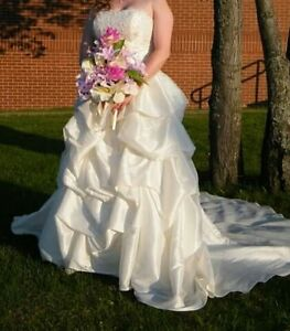 IVORY WEDDING DRESS, SIZE 14 - REDUCED