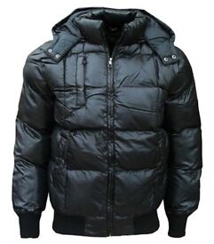 mens sk - 5 padded puffa jacket navy size small puffer quilted bubble coat