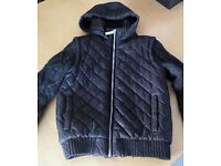 Boys jacket - Black - padded & wool sleeves Age 7-8