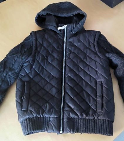 Boy Black padded jacket with woolen sleeves
