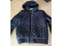 Boy Black padded jacket with woolen sleeves