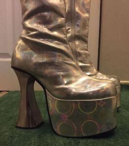 "Demonia Halloween ""ELTON JOHN"" Style Silver Platform Boots 9"