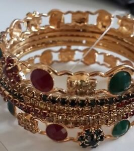"BRAND NEW Indian Bangle Set (2.6"" diameter OR 6 cm). Only $10."