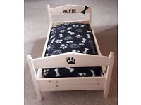 Handmade wooden personalised dog bed