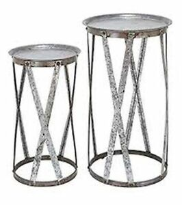 Stylish set of 2 tray tables, all metal from Wayfair
