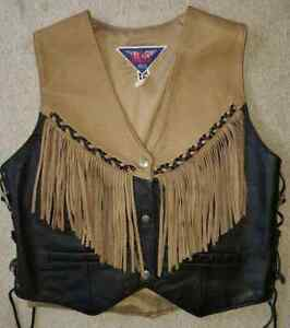 Ladies fringed leather vest size medium