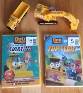 2 Sealed Bob The Builder Movies + 2 Construction Truck Toys.
