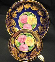Paragon A1544. Colbalt Blue with Gold Trim and Chrysanthemums