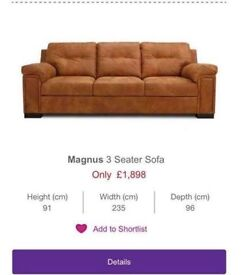 DFS REAL LEATHER MAGNUS 3 & 2 SEATER SOFA WITH FOOT STOOL