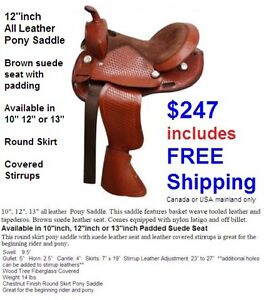 "12"" inch Youth Pony Western Saddle QH Bars Leather New $247 DEAL"