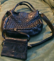 BRAND NEW BLACK SHOULDER LEATHER BAG with WALLET ON SALE