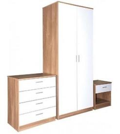 BRAND New High Gloss Solid Wood Bedroom set-Wardrobe/Chest Of Drawer/Bedside Table-Same Day Delivery
