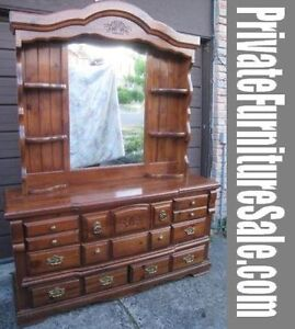Beautiful Solid Wood 8-dr Dresser w/large Mirror,delivery$$,read