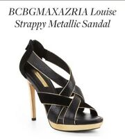 Sandales noires et or BCBG 6.5 black & gold strappy sandals