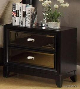 DRAKE BLACK COLOR WOOD NIGHT STAND WITH MIRRORS- BRAND NEW