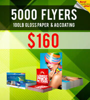 5000 Flyer Printing - 100lb Gloss Paper 2 Sided ONLY $160