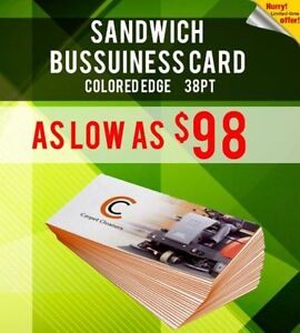 38pt Thick Sandwich Colored Edge Business Card Printing