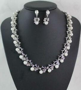 NEW! Elegant Pearl Swarovski Crystal Necklace & Earrings Set