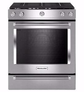 30'' range, Convection, Gas burners, Stainless, KitchenAid