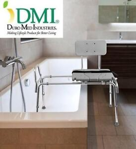 NEW DMI SLIDING SHOWER BENCH 522-1734-1900 219153054 TRANSFER BENCH WITH CUTOUT SEAT ADJUSTABLE LEGS GREY