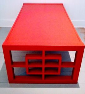 TORCH RED Coffee Table LARGE Antique Vintage