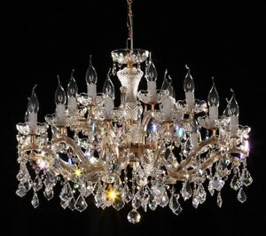 lustre venitien restaurant 80 21 feux or 24 carats pampilles cristal swarovski ebay. Black Bedroom Furniture Sets. Home Design Ideas