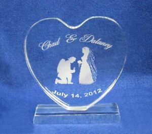 Firefighter Crystal Heart Wedding Topper Engraved NEW