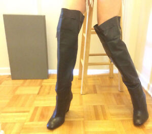 BLACK LEATHER BOOTS (cost over $500+tax in store)