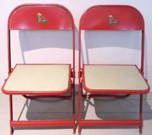 Kids Folding Chair RED Metal Vinyl Antique Vintage COOEY
