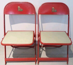 c.1959 MOTHER GOOSE Folding Chairs Kid's Childrens Antique