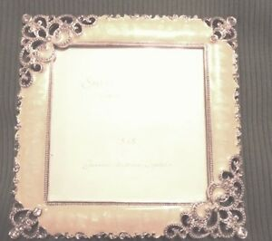 Square Picture Frame - Ivory Enamel with Crystal Accents - New