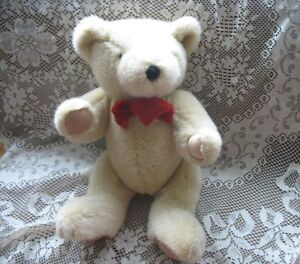"21-24"" SOFT JOINTED CHAMPAGE BEIGE STOCKY TEDDY BEAR, RED BOW"