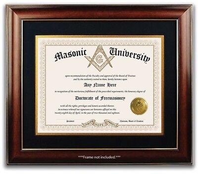 Personalized Gold Seal (Masonic University Freemasonry Personalized Diploma with Gold Seal Novelty)