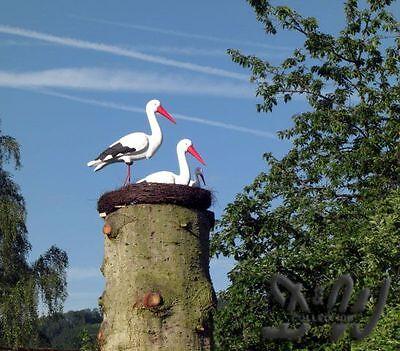STORCHENNEST 4 STÖRCHE Deko STORCHENHORST Garten STORCH HORST Tier Figur NEST