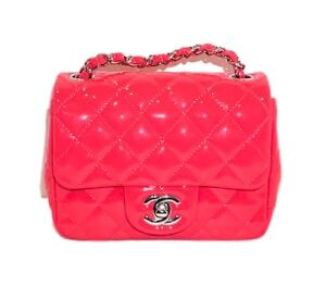Chanel Patent Quilted Mini Square Flap Coral