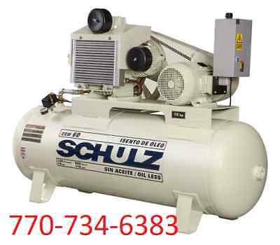 Schulz Air Compressor - 15hp - Oil Free-120 Gallon Tank 60 Cfm